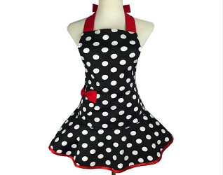 Retro Polka-Dot Kitchen Apron