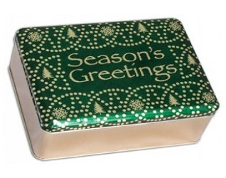 Seasons Greetings Holiday Gift Cookie Tin