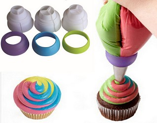 3 piece Tri-color Icing Nozzle Adapters